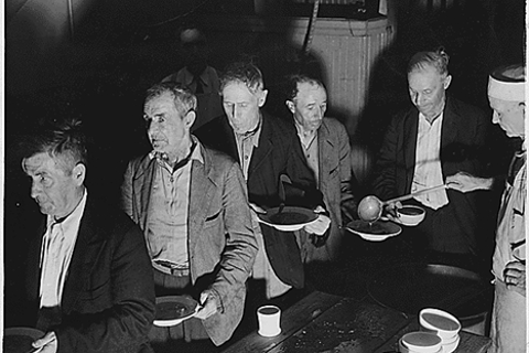 Works Progress Administration (WPA): Unemployed shown at volunteers of America Soup Kitchen (Washington, D.C. 1936). Franklin D. Roosevelt Presidential Library and Museum. Public Domain